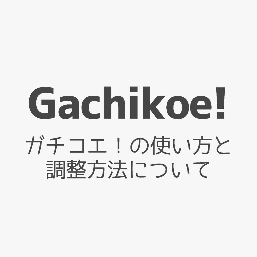 【Gachikoe! Core】ガチコエ!の使い方と調整方法について